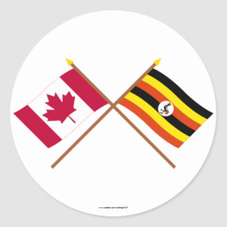 Canada and Uganda Crossed Flags Classic Round Sticker