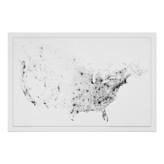 Canada and United States Census Dotmap Poster