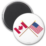 Canada and United States Crossed Flags 6 Cm Round Magnet