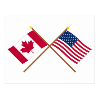 Canada and United States Crossed Flags Postcard