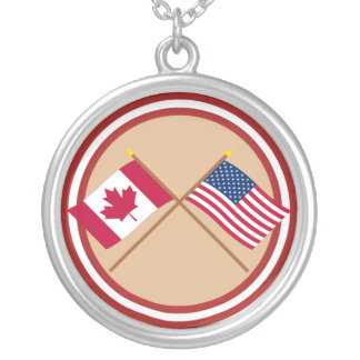 Canada and United States Crossed Flags Silver Plated Necklace