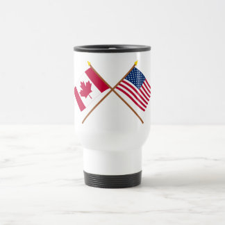 Canada and United States Crossed Flags Travel Mug