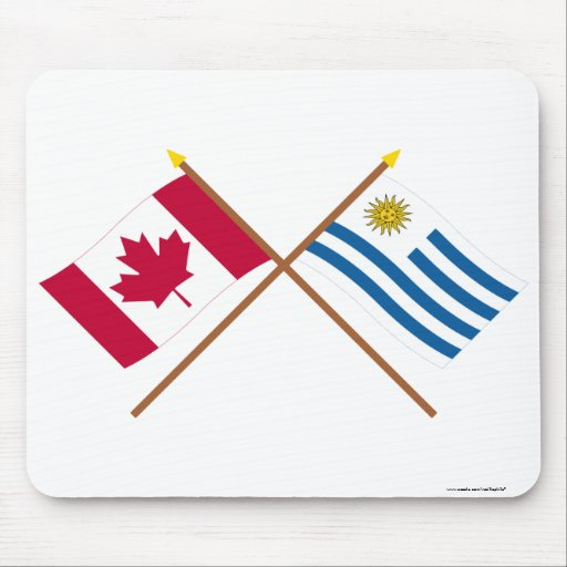 Canada and Uruguay Crossed Flags Mousepads