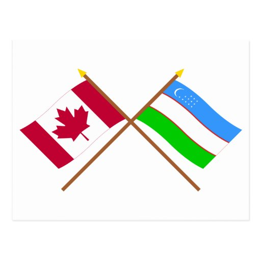 Canada and Uzbekistan Crossed Flags Post Cards