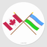 Canada and Uzbekistan Crossed Flags Round Stickers