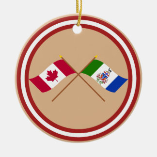 Canada and Yukon Territory Crossed Flags Ornaments