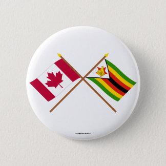 Canada and Zimbabwe Crossed Flags 6 Cm Round Badge