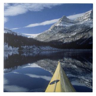 Canada, British Columbia, Banff. Kayak bow on Large Square Tile