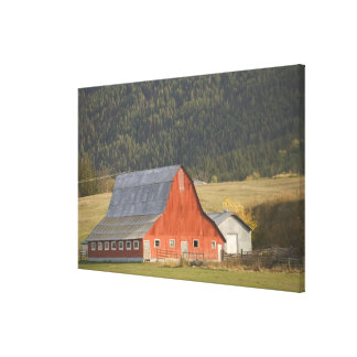 CANADA, British Columbia, Enderby. Red Barn / Canvas Print