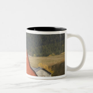 CANADA, British Columbia, Enderby. Red Barn / Two-Tone Coffee Mug