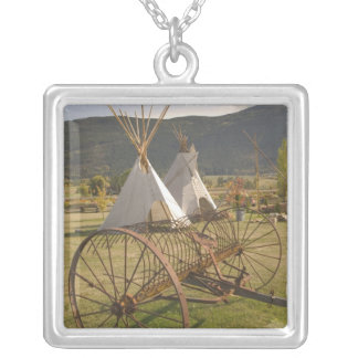 CANADA, British Columbia, Enderby. Tepees & Square Pendant Necklace