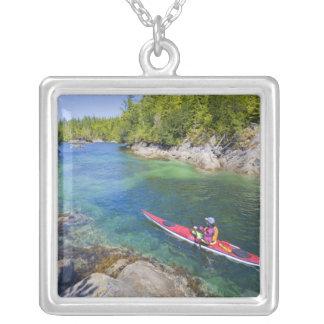 Canada, British Columbia, Vancouver Island. Sea 2 Square Pendant Necklace
