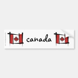 Canada Brush Flag Bumper Sticker
