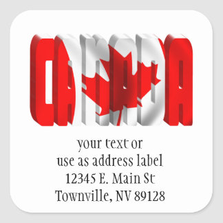 CANADA Canadian Flag Text Square Sticker