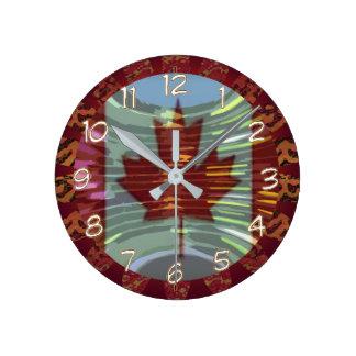 Canada Canadian MapleLeaf Maple Leaf Flag Round Clock