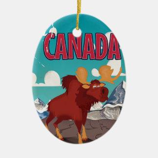 Canada Cartoon Vintage Moose Poster Christmas Ornament