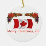 Canada Christmas Round Ceramic Decoration