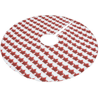 Canada Christmas Tree Skirt Canada Maple Leaf Deco Brushed Polyester Tree Skirt