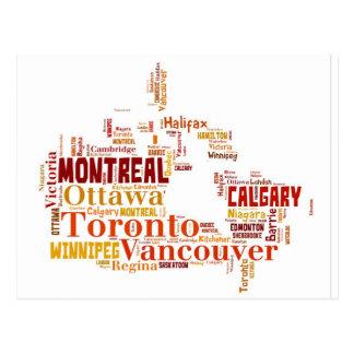 Canada Cities Word Art Postcard