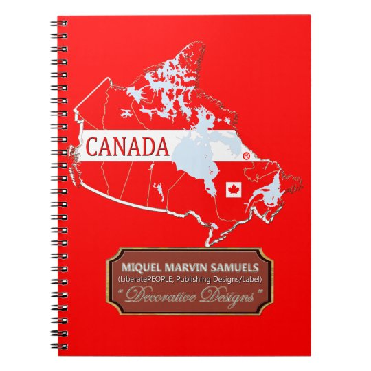 Canada country outline Flag Colours Modern Spiral Notebook