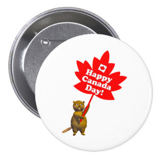 Canada Day Beaver and Maple Leaf 7.5 Cm Round Badge