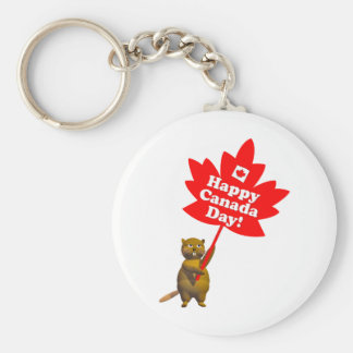 Canada Day Beaver and Maple Leaf Basic Round Button Key Ring