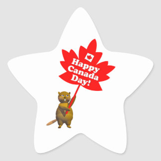 Canada Day Beaver and Maple Leaf Star Sticker