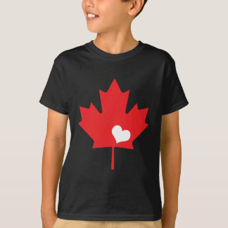 Canada Day Canadian Maple Leaf and Heart T-Shirt