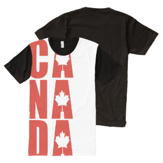 Canada Day Designer Custom Canadian Maple Leaf All-Over Print T-Shirt
