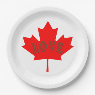 Canada Day love set of 8 paper plates