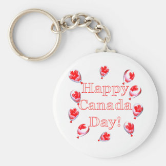 Canada Day Maple Leaf Balloons Basic Round Button Key Ring