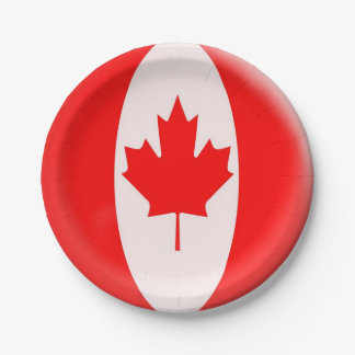 Canada Day maple leaf red & white flag Paper Plate
