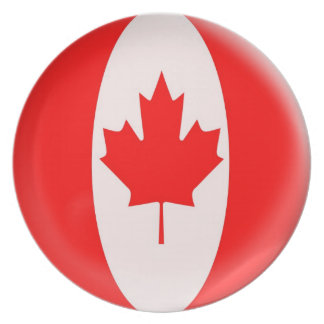 Canada Day maple leaf red & white flag Plate