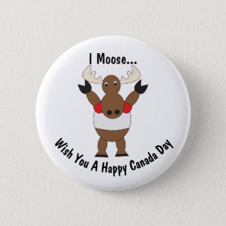 Canada Day Moose Customizable 6 Cm Round Badge