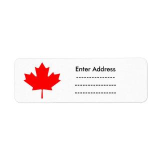 Canada Day red maple leaf label sticker Return Address Label