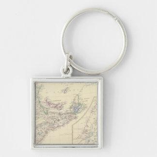 Canada E Silver-Colored Square Key Ring