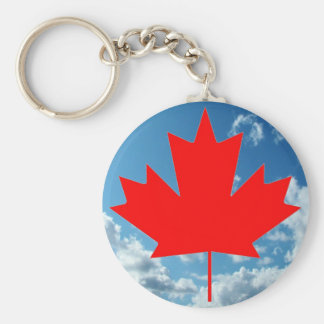 Canada flag and blue sky basic round button key ring