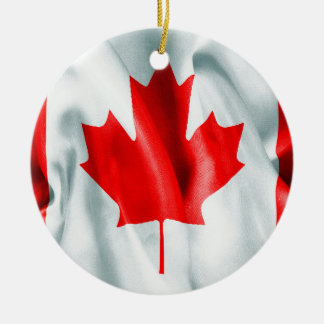 Canada Flag Ceramic Round Christmas Ornament