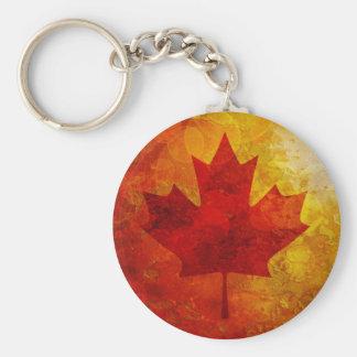 Canada Flag Grunge Background Illustration Basic Round Button Key Ring