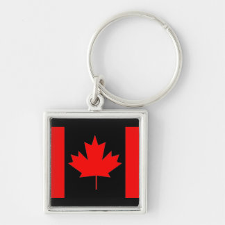 Canada flag, Happy Canada Day Silver-Colored Square Key Ring