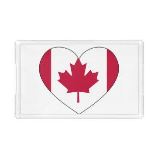 Canada Flag Heart Acrylic Tray