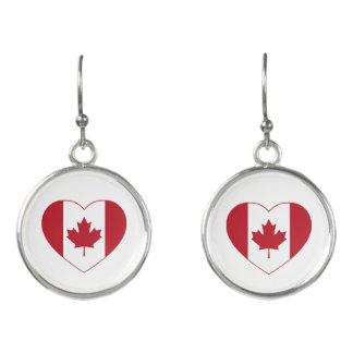 Canada Flag Heart Drop Earrings