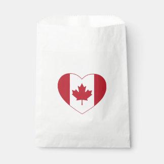 Canada Flag Heart Favor Bags