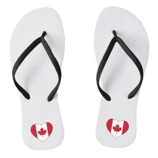 Canada Flag Heart Flip Flops