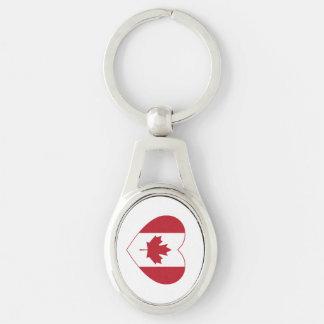 Canada Flag Heart Metal Keychain