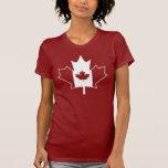 Canada Flag in Maple Leaf - Womens Red TShirt