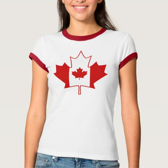 Canada Flag in Maple Leaf - Womens White TShirt