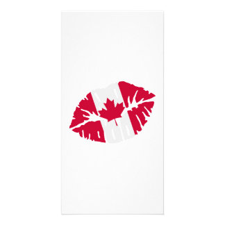 Canada flag kiss personalized photo card