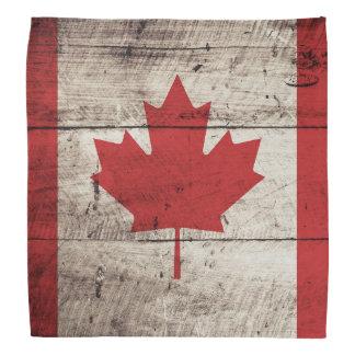Canada Flag on Old Wood Grain Bandana