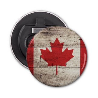Canada Flag on Old Wood Grain Bottle Opener